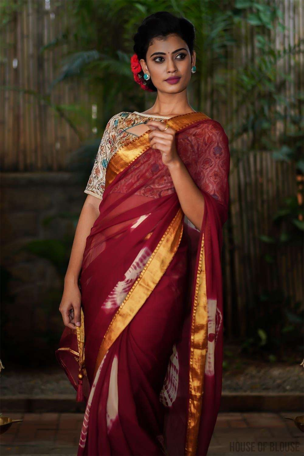 Maroon shibori dyed chiffon saree with zari border