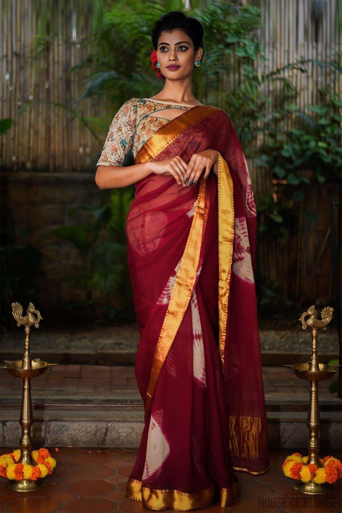 Maroon shibori dyed chiffon saree with zari border - House of Blouse