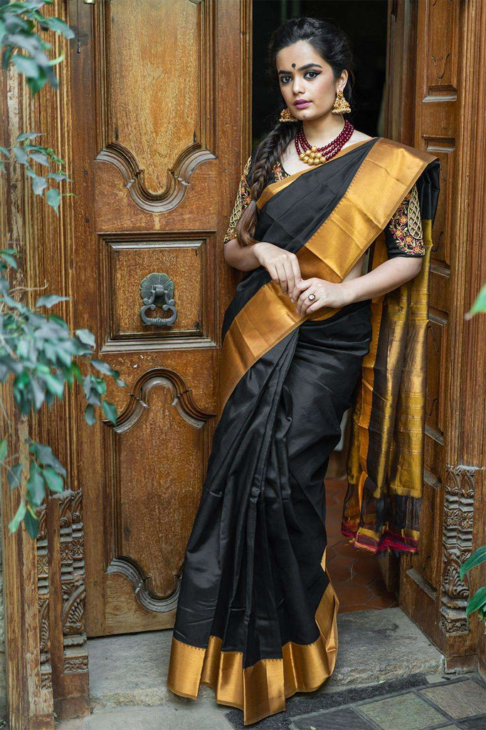 Meerabai - Black Mangalgiri silk cotton saree with dull gold border - House of Blouse