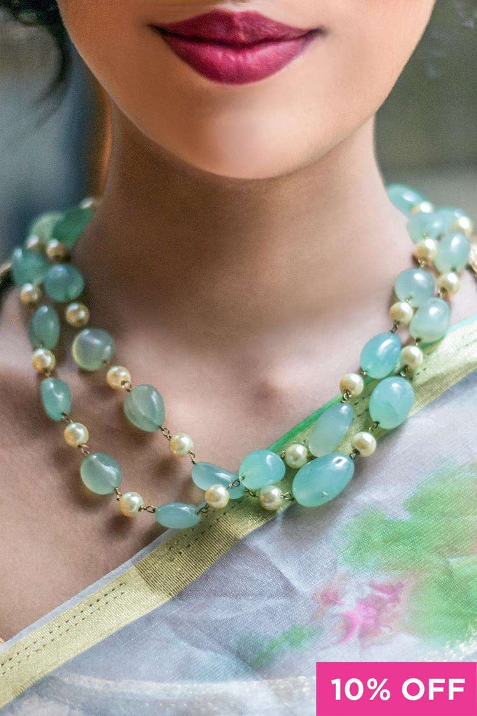 Mint Natural Stones and Shell Pearl Double Line Necklace