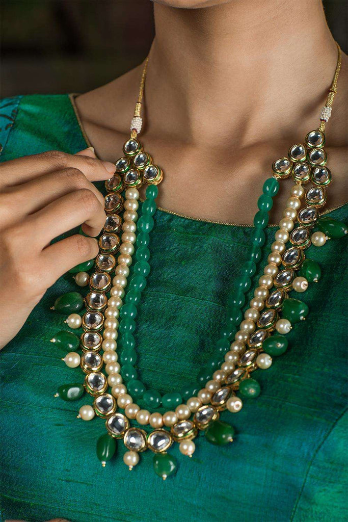 Mirrari Green Onyx and Kundan Necklace - House of Blouse