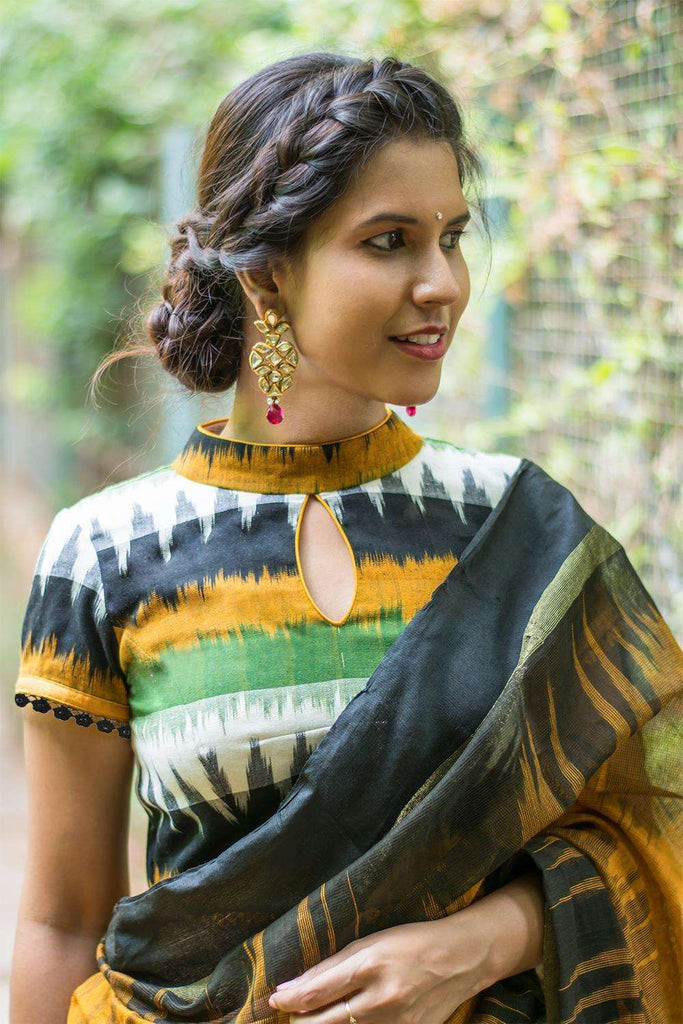 Mustard and black Ikat cotton high neck blouse - House of Blouse