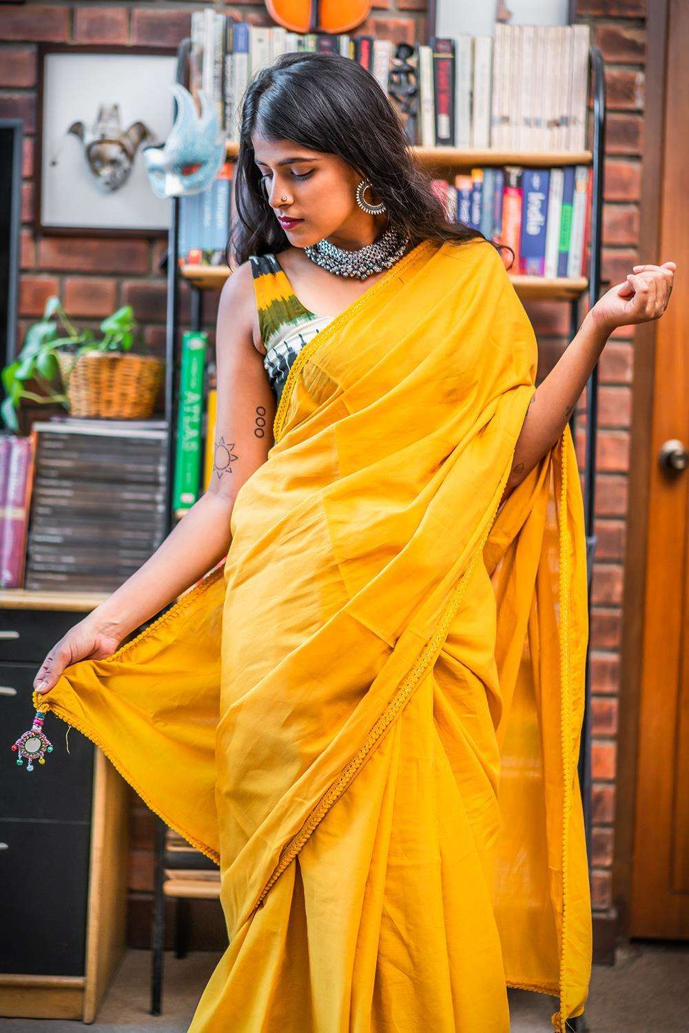 Mustard mul cotton saree with pom pom edging - House of Blouse