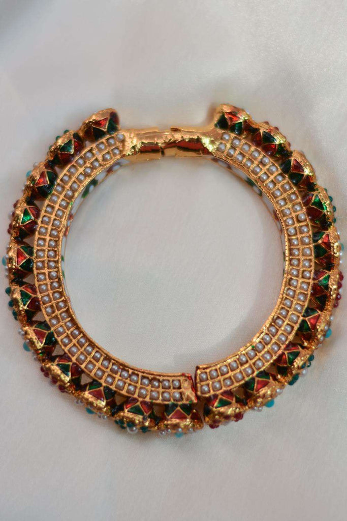 Navrattan Jadau Pacheli Bangle - House of Blouse