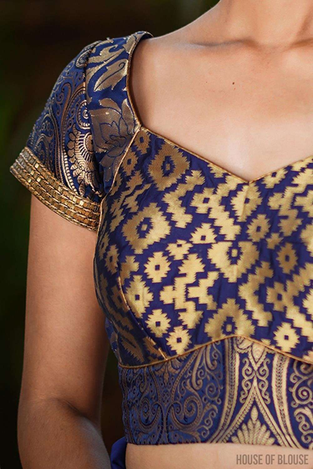 Navy blue and gold brocade three fabric sweetheart neck blouse - House of Blouse