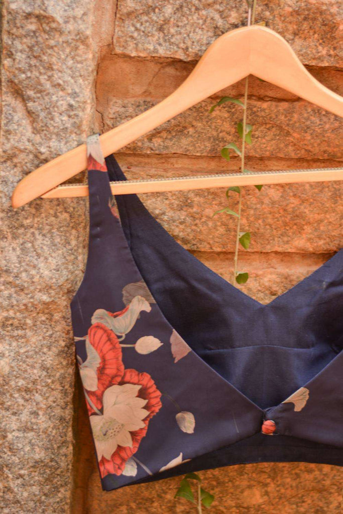 Navy blue floral printed satin sleeveless blouse - House of Blouse