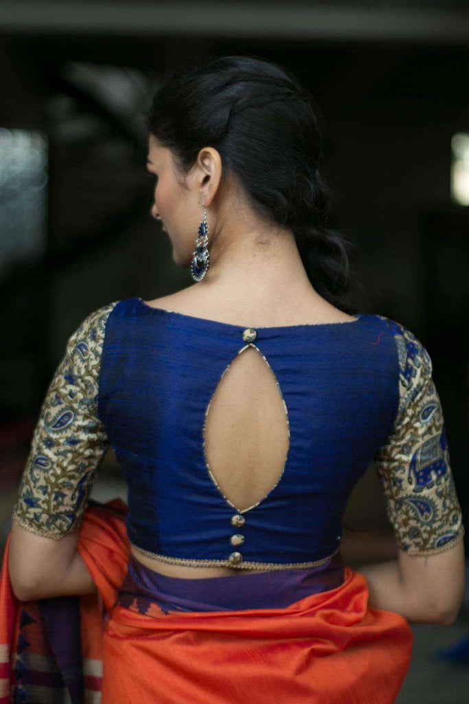 Navy blue raw silk blouse with cream kalamkari sleeves - House of Blouse