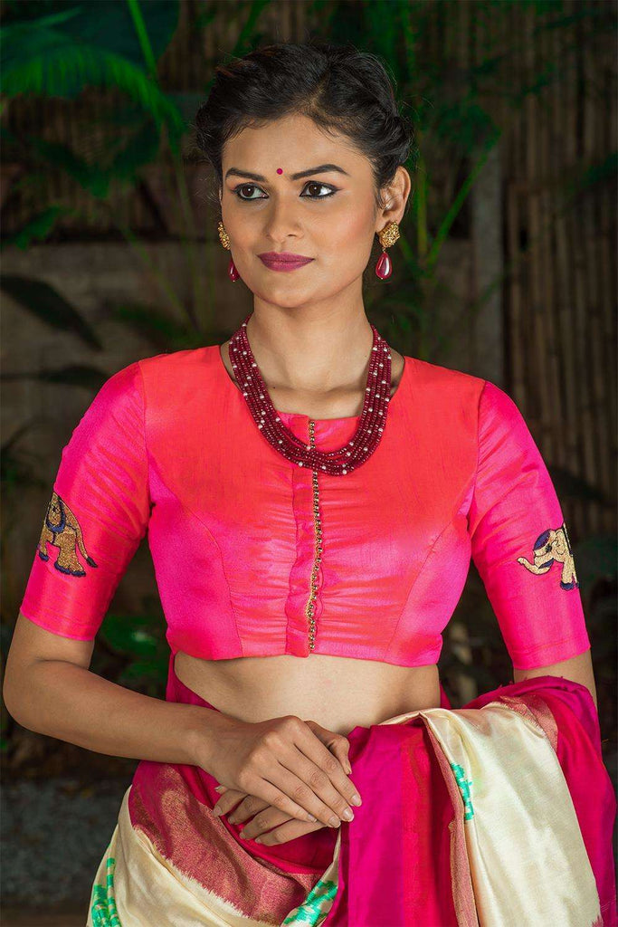 Neon pink semi silk blouse with embroidered elephant appliques