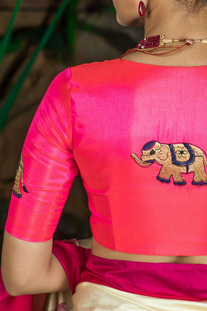 Neon pink semi silk blouse with embroidered elephant appliques - House of Blouse