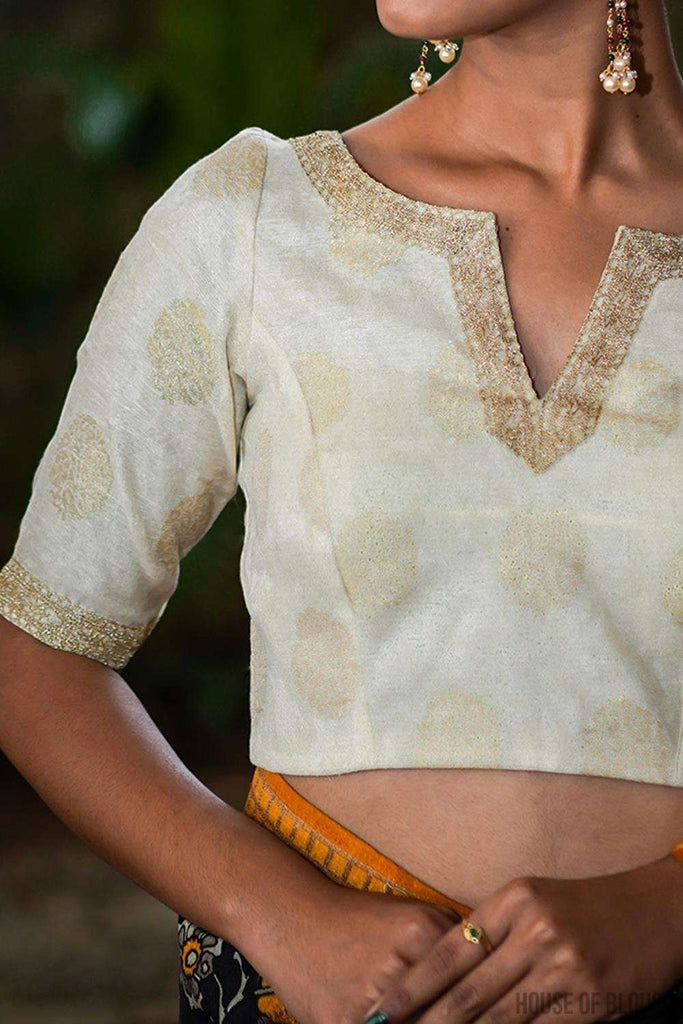 Off white chanderi brocade blouse with zari motifs and border detailing - House of Blouse