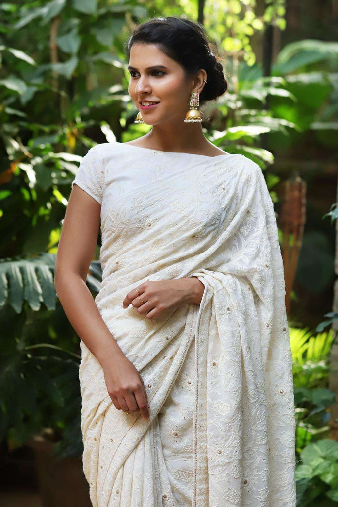 Off white chikankari inspired georgette saree