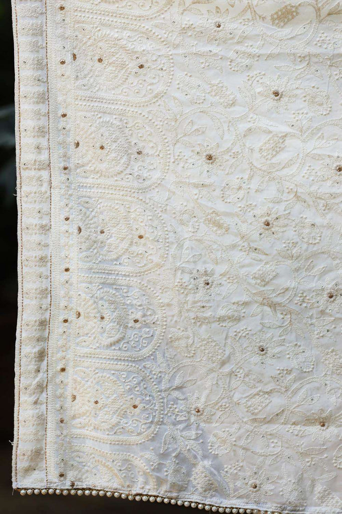 Off white chikankari inspired georgette saree - House of Blouse