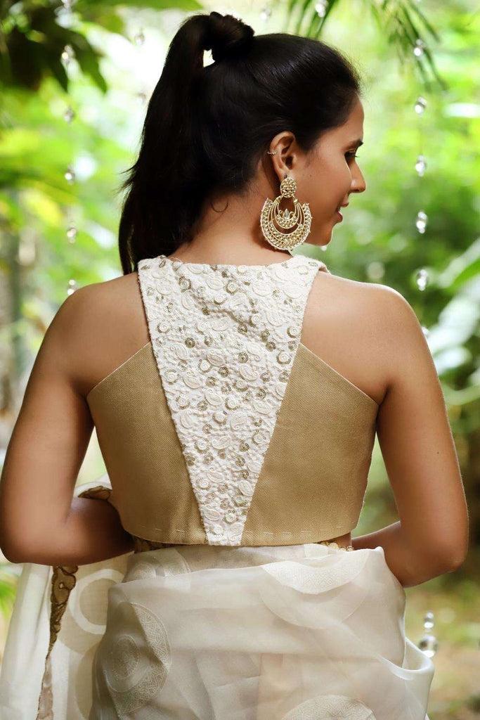 Off white embroidered cotton and gold brocade racer back blouse