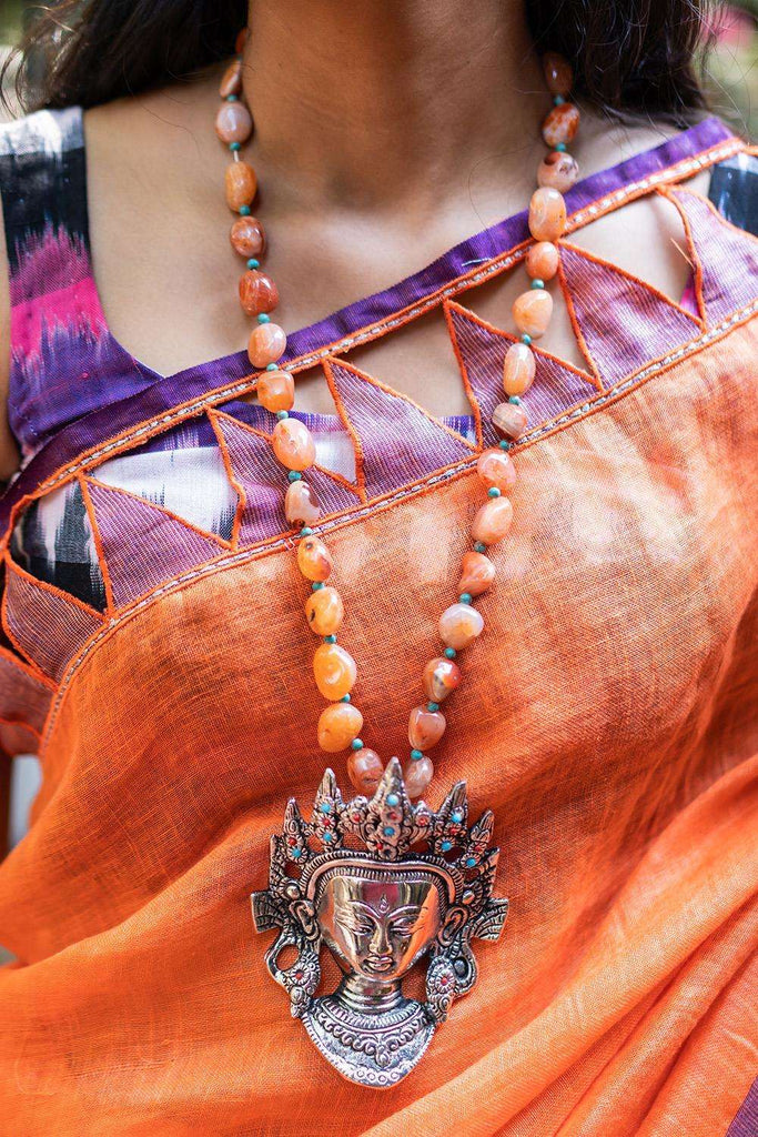 Orange Agate German Silver Budha Statement Necklace