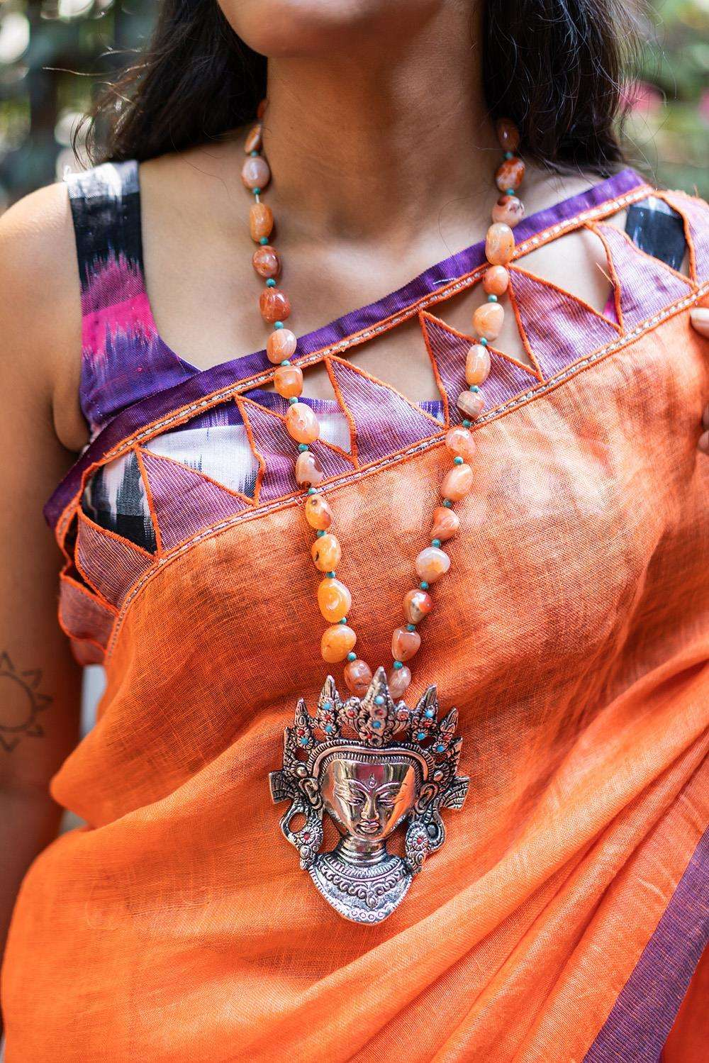 Orange Agate German Silver Budha Statement Necklace - House of Blouse