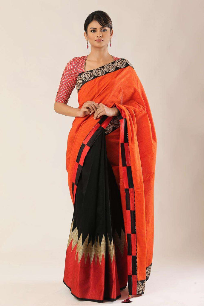 Orange and black cotton half and half saree with black embroidered border - House of Blouse