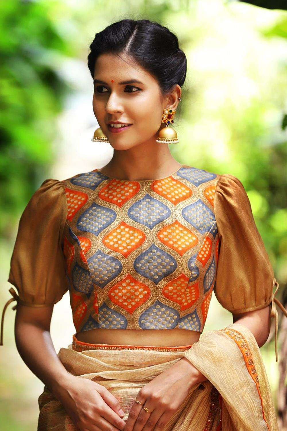 Orange and grey silk kota blouse with gold shimmer georgette puff sleeves - House of Blouse