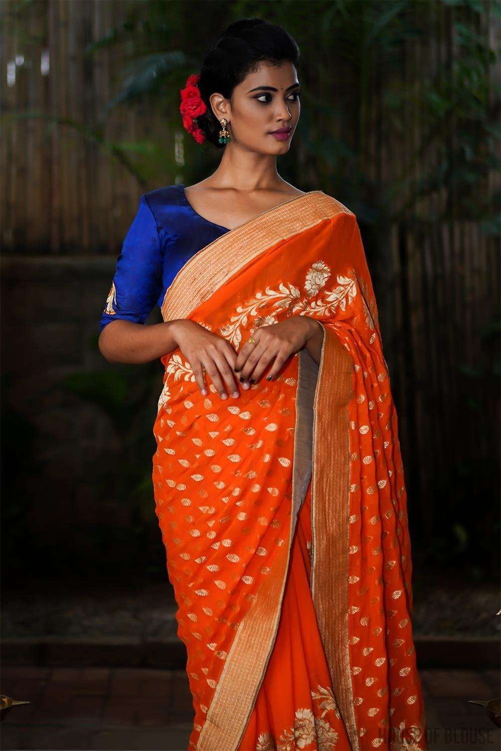 Orange Banarasi georgette saree with gold zari design and border - House of Blouse