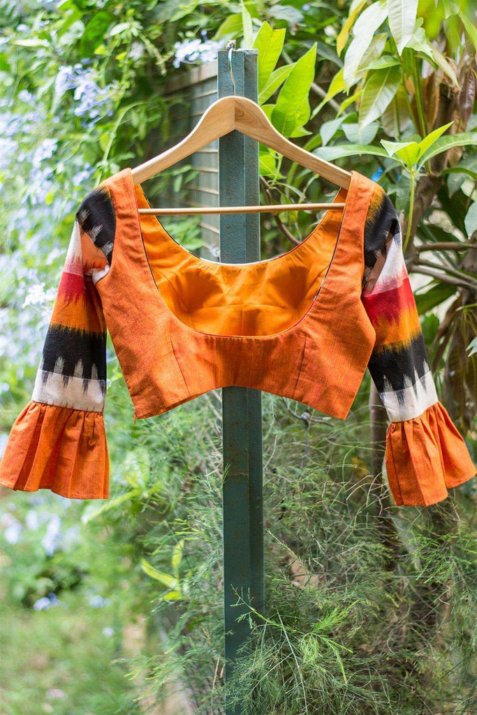 Orange Khadi and Ikat cotton vintage inspired blouse - House of Blouse