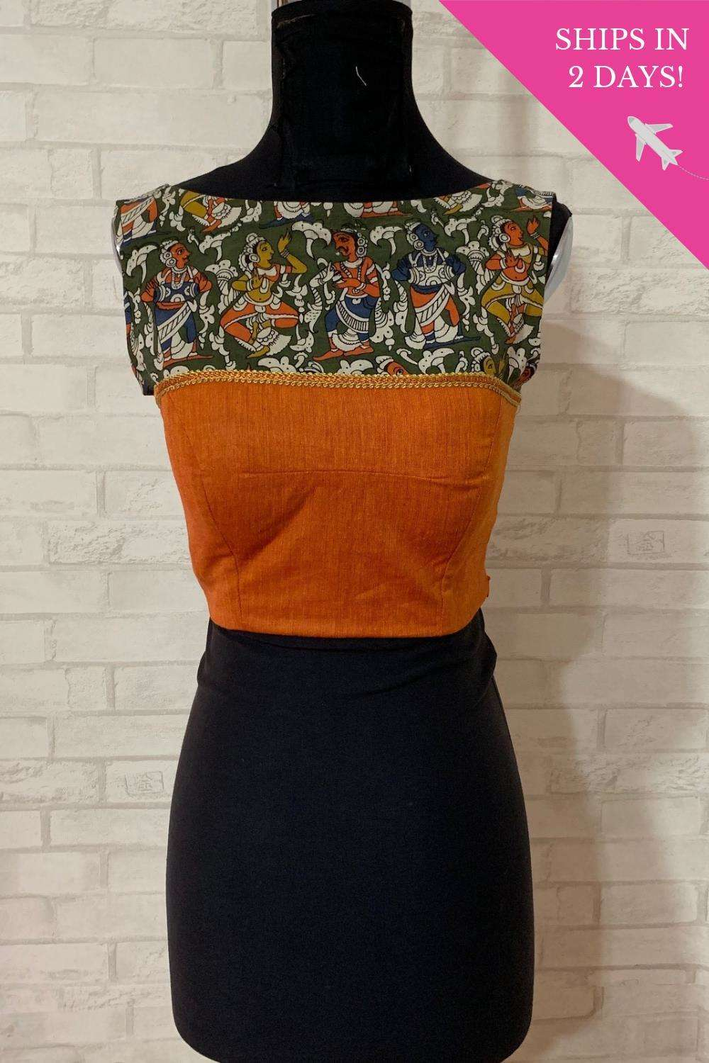 Orange khadi boatneck blouse with kalamkari yoke; Size: 34