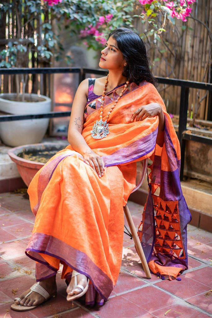Orange linen saree with purple tissue and cutwork border + cutwork pallu - House of Blouse