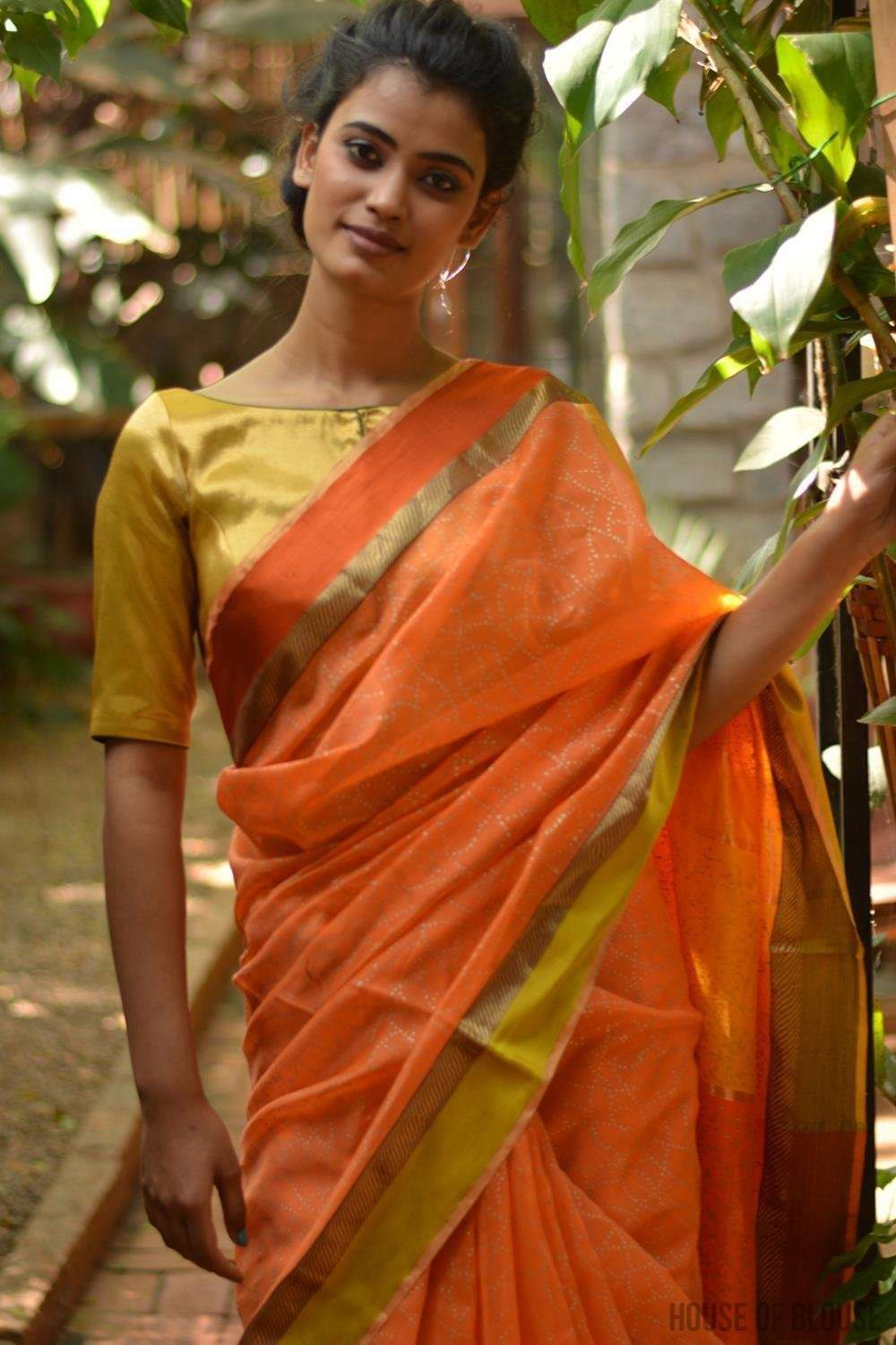 Orange Maheshwari silk saree with gold block print, zari and ganga jamuna border - House of Blouse