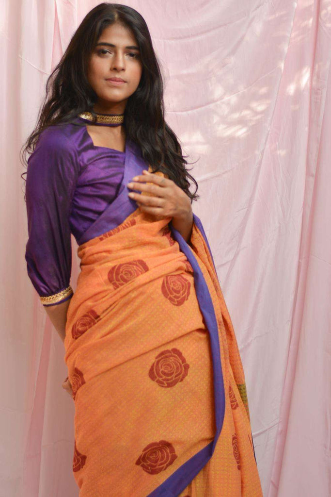 Orange self woven soft handloom cotton saree with red block print and violet border - House of Blouse