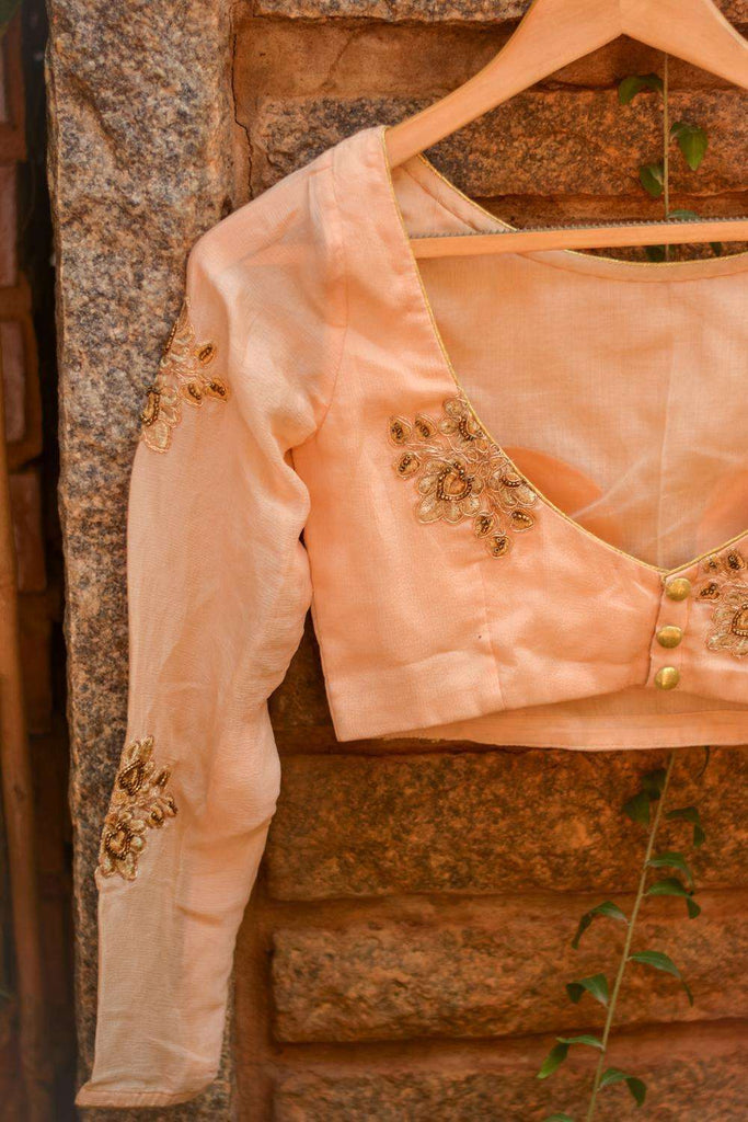 Pale orange embroidered chinon crepe boatneck blouse - House of Blouse