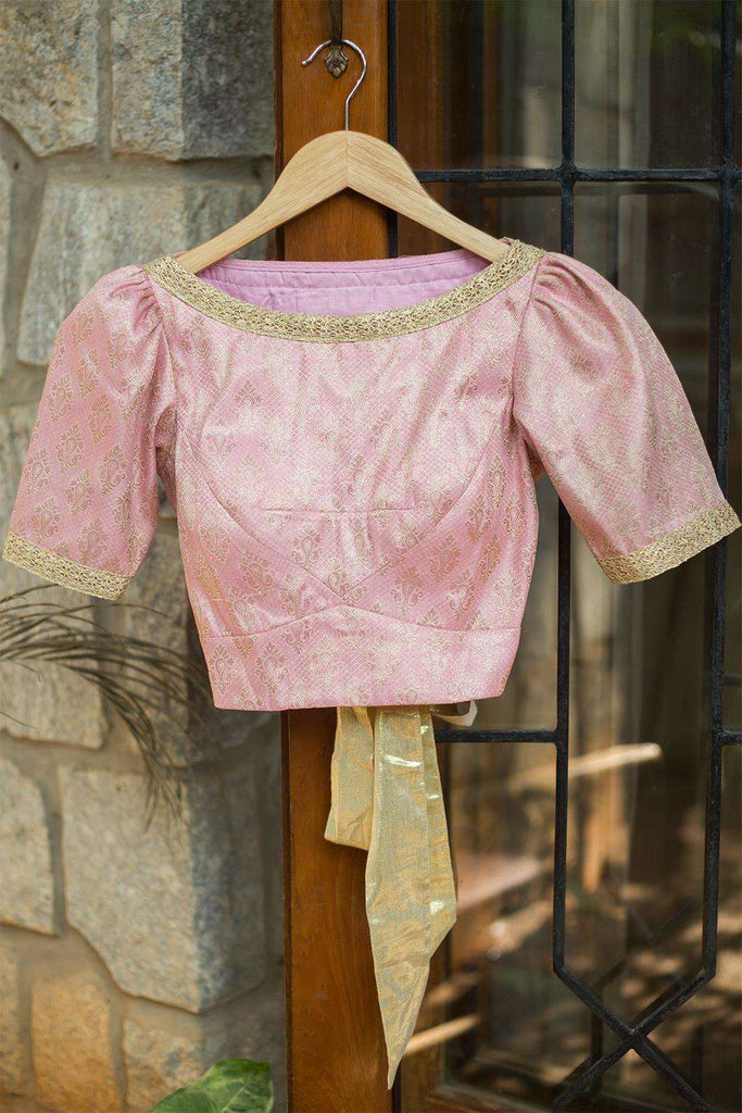 Pale pink brocade blouse with puff sleeves and tie back - House of Blouse
