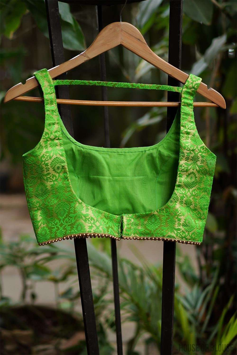 Parrot green and gold brocade U neck sleeveless blouse - House of Blouse