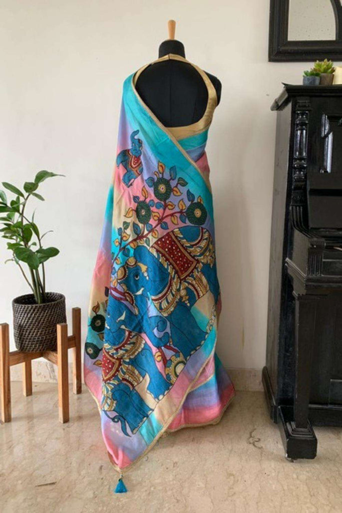 Pastel color bands pure Tussar saree with handpainted Kalamkari applique on pallu