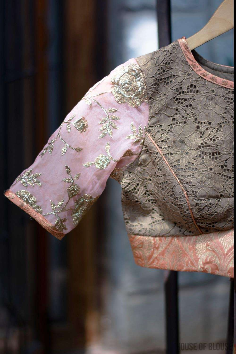 Patchwork blouse in gold lace, peach brocade, and embroidered organza.