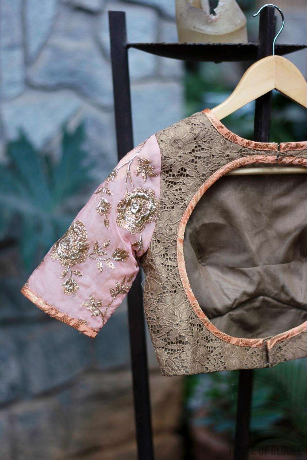Patchwork blouse in gold lace, peach brocade, and embroidered organza. - House of Blouse