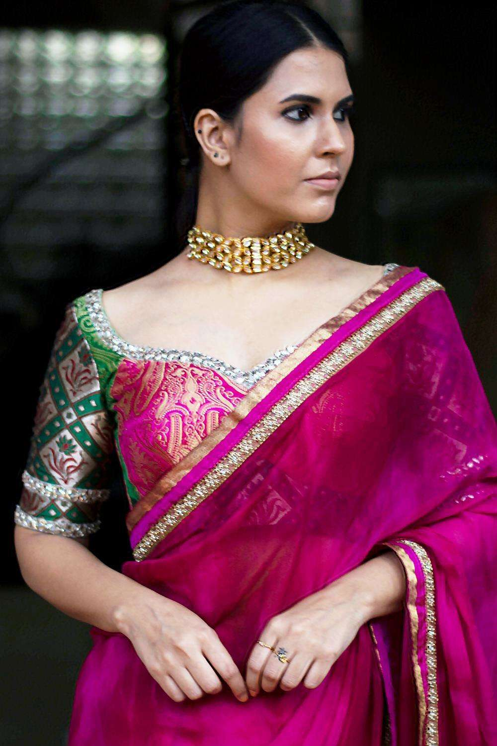 Patchwork blouse in pink and green brocade with kundan border