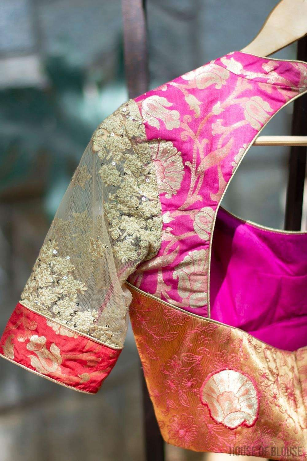Patchwork blouse in pink and red brocade with embroidered net sleeves - House of Blouse