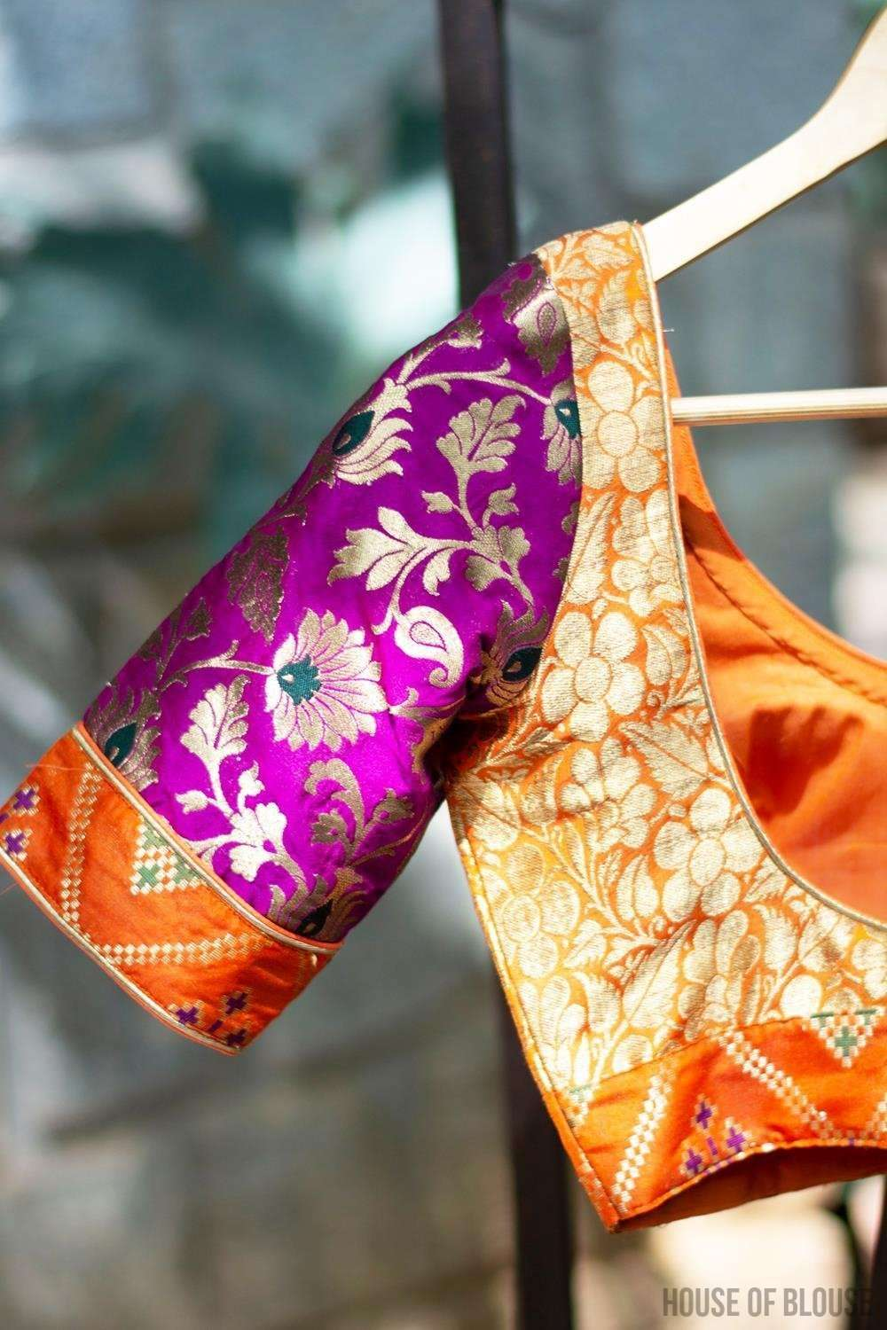 Patchwork blouse in yellow and orange brocade with purple brocade sleeves - House of Blouse