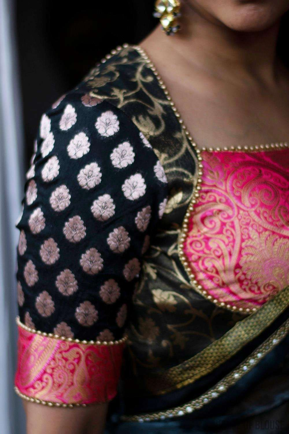 Patchwork blouse made in black and pink brocade with gold bead edging. - House of Blouse