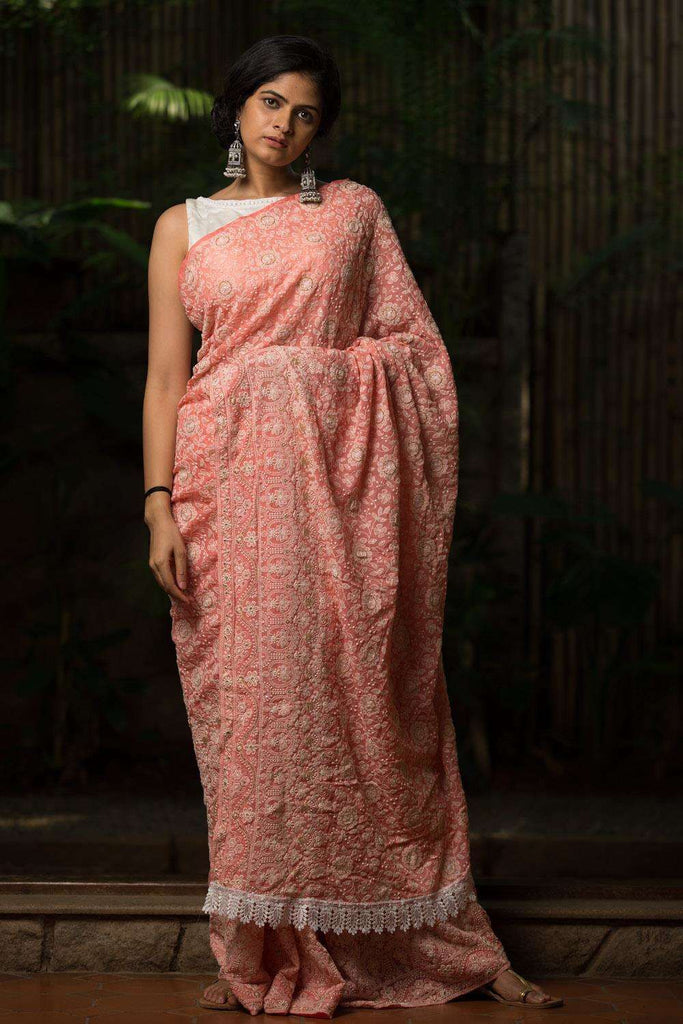 Peach chikankari inspired georgette saree - House of Blouse