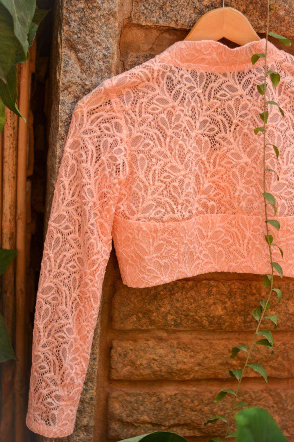 Peach pink lace sheer yoke blouse - House of Blouse