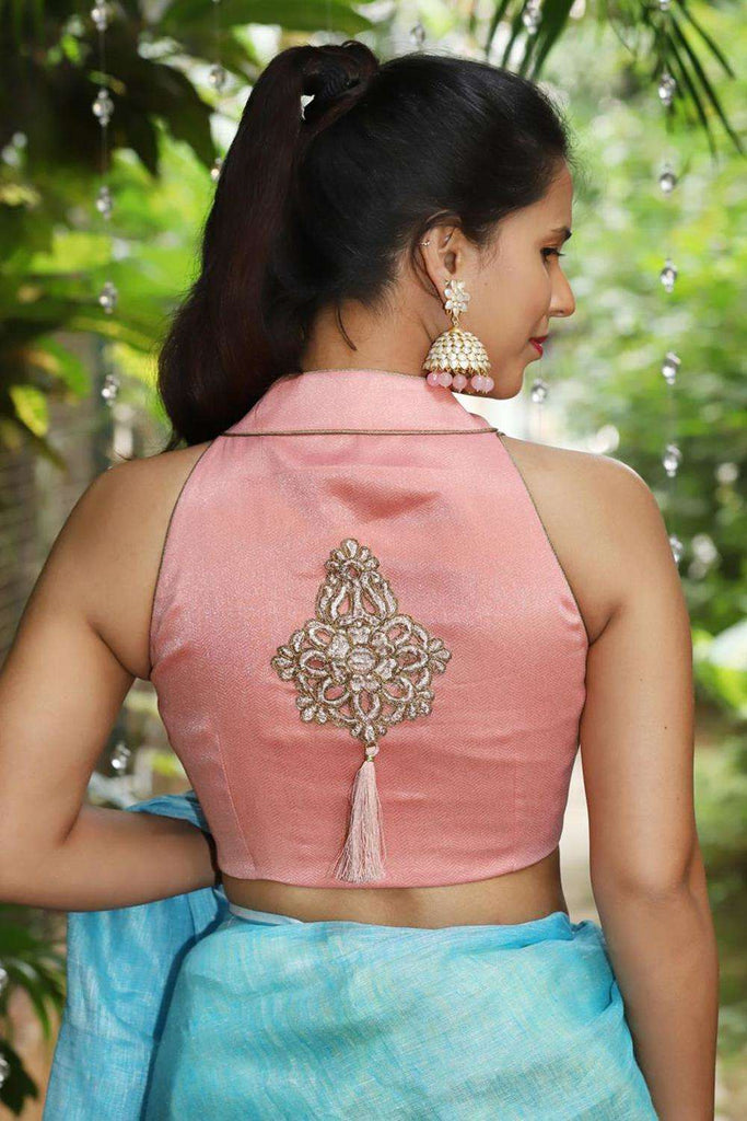 Peach pink shimmer georgette hi neck sleevless blouse with applique on back - House of Blouse