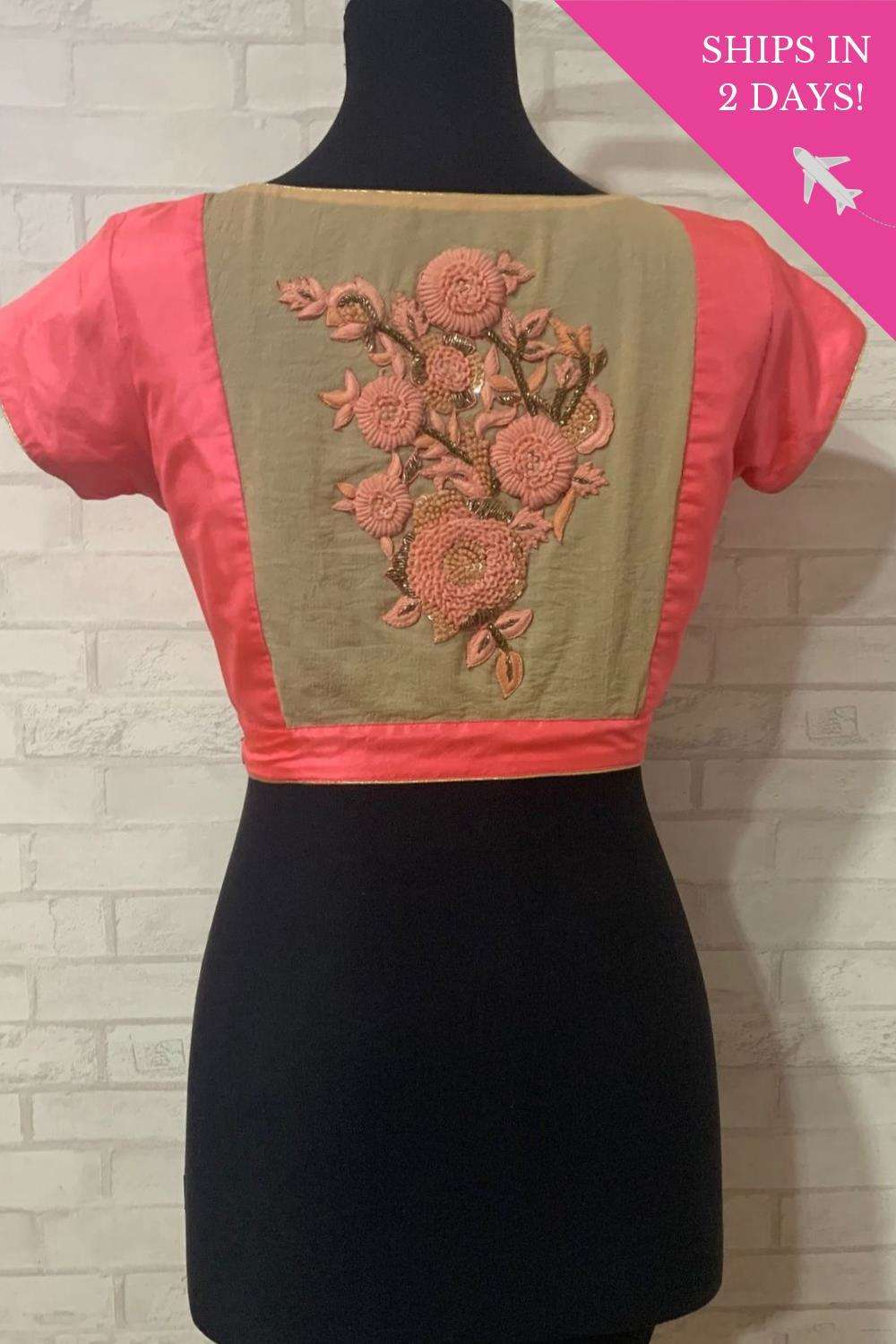 Peach silk blouse with an embroidered sheer back; Size: 40