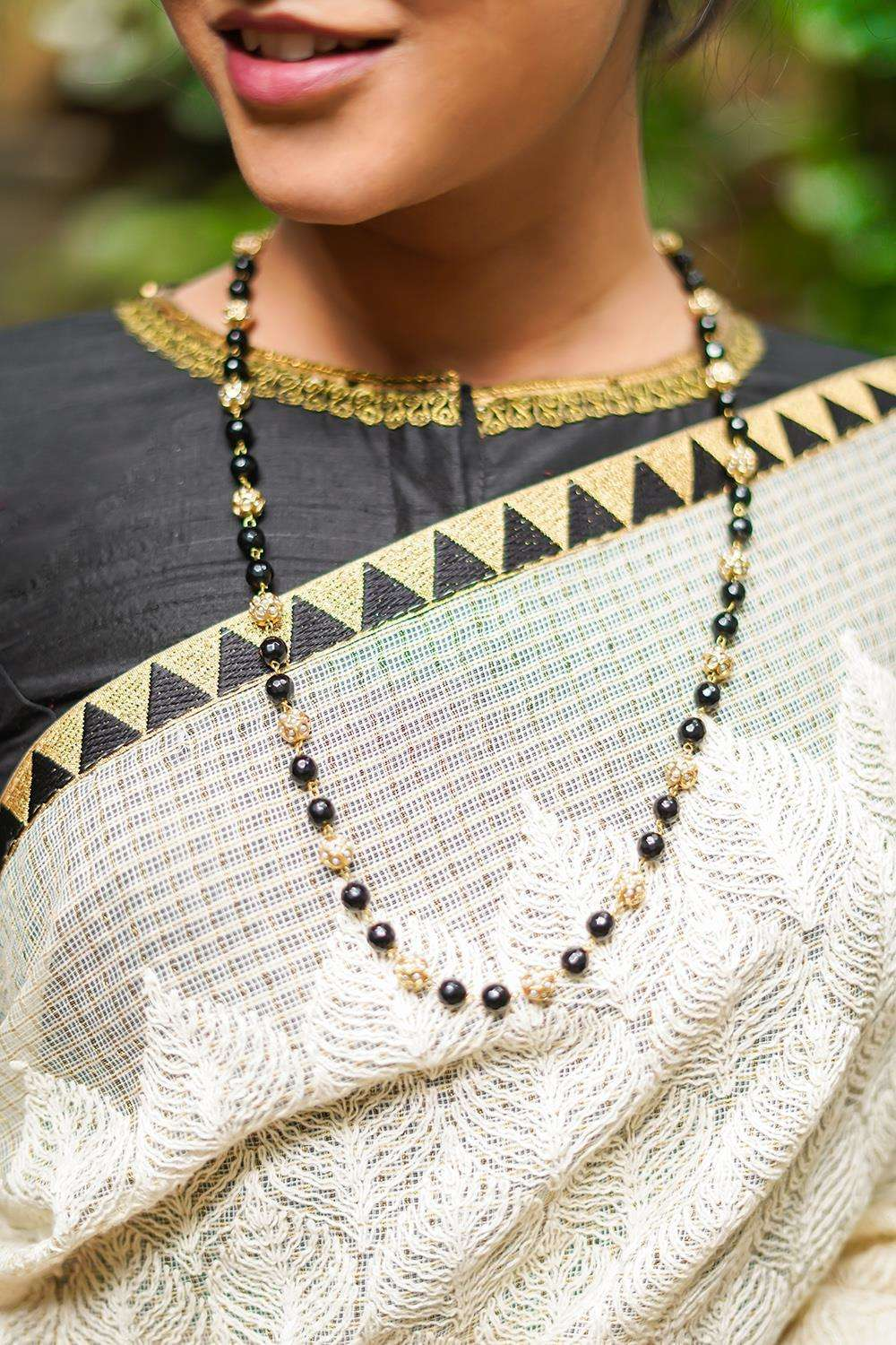 Pearl jadau and black onyx necklace string - House of Blouse