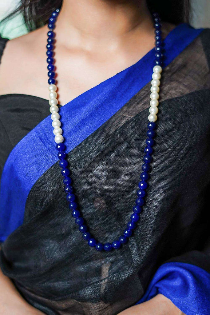 Pearls and Blue Onyx Necklace String - House of Blouse
