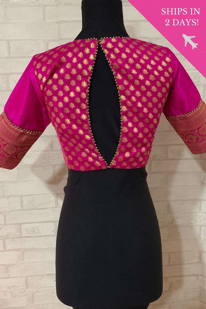 Pink and gold brocade blouse with raw silk sleeves; Size: 34