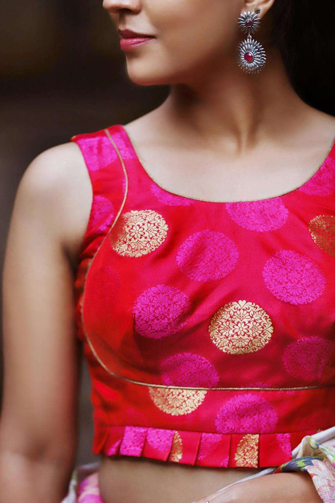 Pink and gold brocade bustier style blouse with frills - House of Blouse