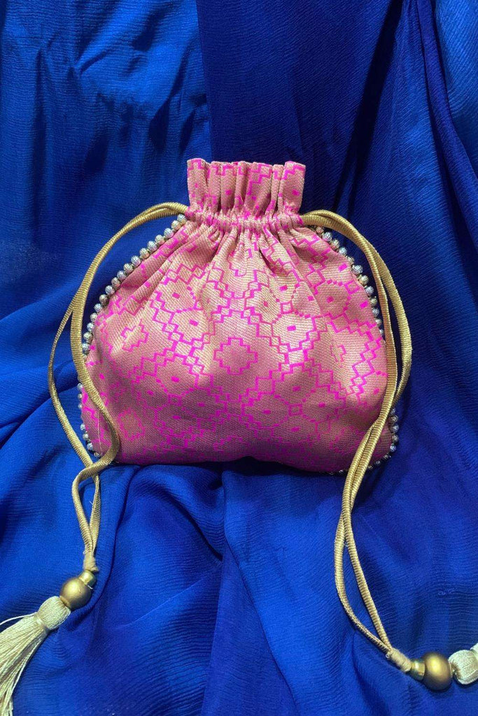 Pink and gold brocade Potli bag with silver and gold bead detailing - House of Blouse