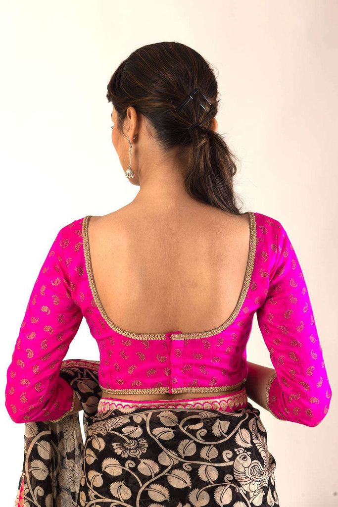 Pink and gold printed raw silk 3/4th sleeve blouse