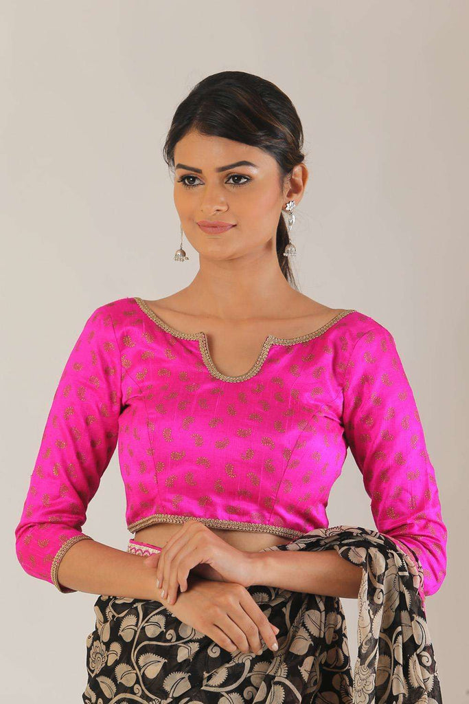 Pink and gold printed raw silk 3/4th sleeve blouse - House of Blouse