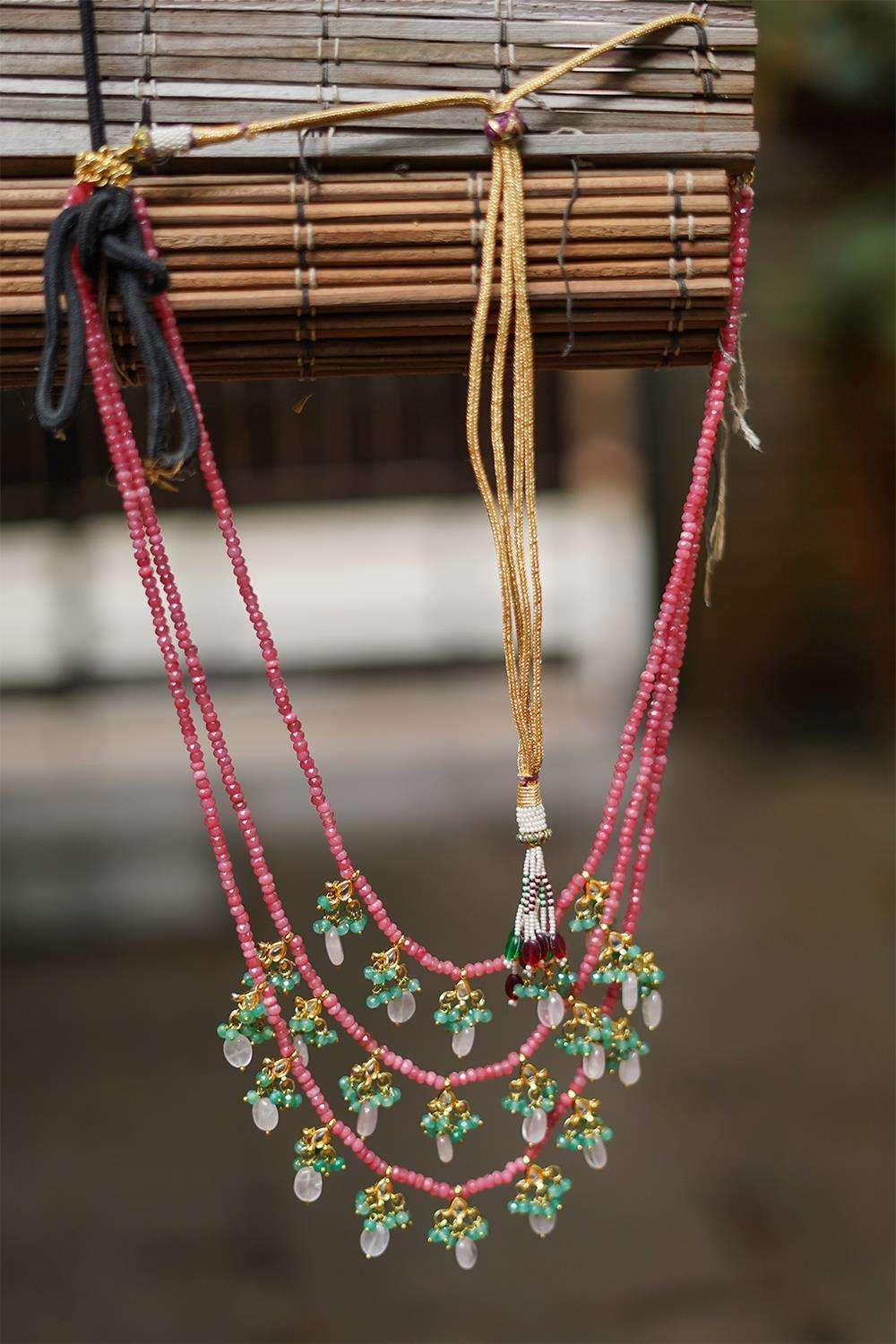 Pink and Green Semi precious teenlada long rani haar necklace - House of Blouse