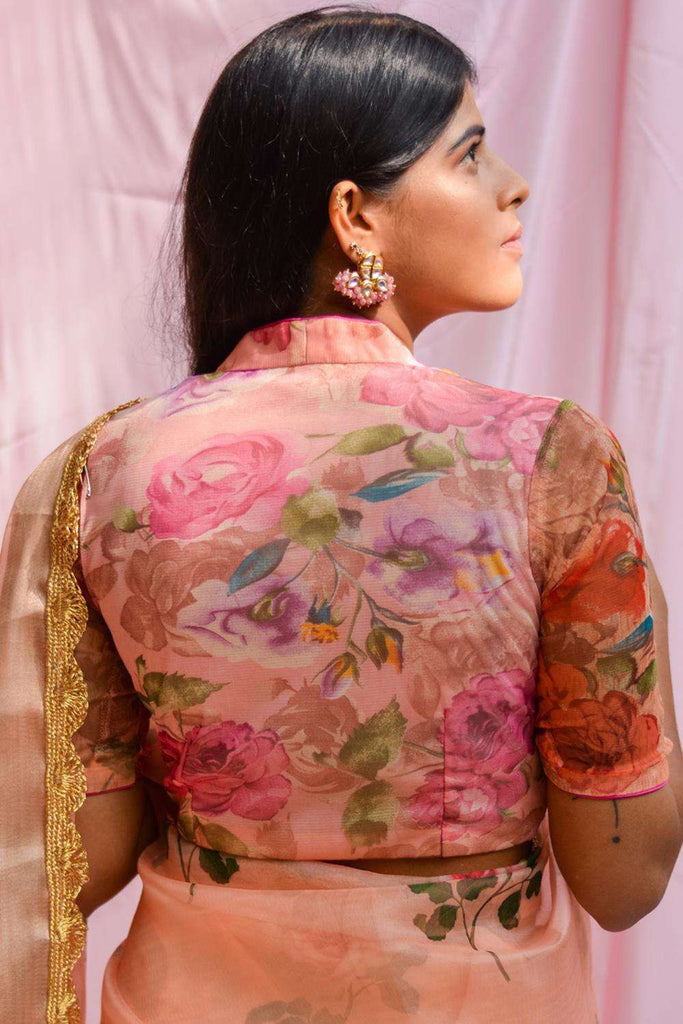 Pink and orange floral printed net blouse - House of Blouse